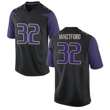 Men's Joel Whitford Washington Huskies Nike Game Black Football College Jersey