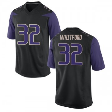 Men's Joel Whitford Washington Huskies Nike Replica Black Football College Jersey